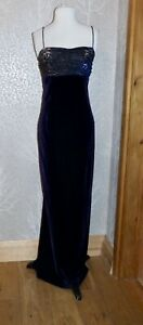 STUNNING LONG TALL SALLY PURPLE VELVET & BROCADE FISHTAIL SLIP MAXI DRESS UK 12