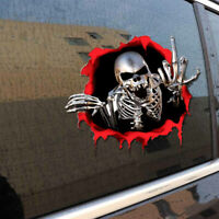 3D Skeleton Skull Car Auto Trunk Side Middle Finger Decal Sticker Accessories