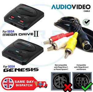 MEGA DRIVE 2 RCA TV Cable Composite Audio Video AV Lead SEGA GENESIS G2 3 Wire