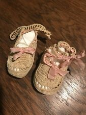 Antique 1920's Crocheted Baby Doll Bootie Shoes with Ribbon Strap