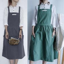 Women Cotton Linen Bib Apron Sleeveless Pinafore Home Cooking Florist Dress