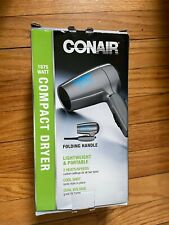 Brand New Conair Folding Handle Hair Dryer 1875  Heat/speed Setting Grey