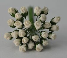 48 OFF WHITE ROSE BUDS (S) Mulberry Paper Flowers wedding miniature