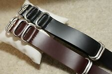 NATO G10 Genuine Leather British Military MOD Watch Strap 18-22mm 5 Rings