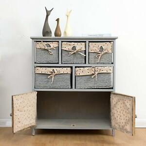 Vintage Retro Sideboard Cabinet 2 Door 5 Drawers Wicker Baskets Grey Solid Wood