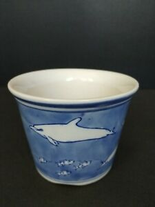 Blue Asian NAUTICAL dolphins, fish Ceramic planter artificial flowers display
