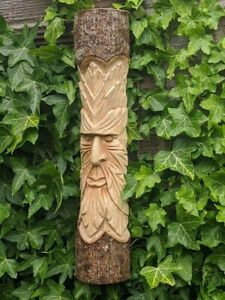 Large Hand Carved Green Man Tree Wall Plaque Figure Garden Ornament 50cm Statue