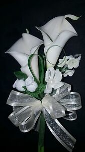 Wedding single or double calla lily mother's or grandma's corsage white or ivory