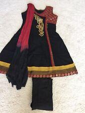 3 Pc Indian Traditional Red Black Kurta & Leggings Set,  US Size S Or Size 2-4