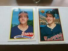 John Smoltz 1989 Topps Tiffany #382 & Bowman Tiffany #266 Lot Atlanta Braves
