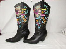 Two Lips size 8 1/2 Black Cowboy Boots w Multi-colored Floral Embroidery