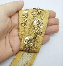 Latest Indian Multicolour and Gold Scalloped Sari Dupatta Lace Trim Border 1M
