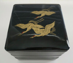 Japanese JYUBAKO, 3 Tiered Square Bento Box for Party, Antique, Black, Cranes