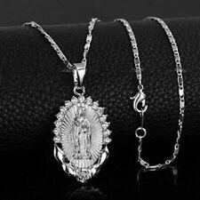 925 Sterling Silver Catholic Saint Virgin Mary New White Topaz Pendant Necklace