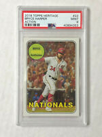 BRYCE HARPER 2018 Topps Heritage Action VARIATION SP #22! PSA MINT 9! PHILLIES!