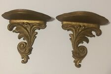 2 Vintage SYROCO WOOD Gold Wall Display SHELVES SCONCES Hollywood Regency
