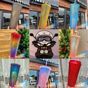 2021 Starbucks Rainbow Diamond Studded Tumbler STRAW CUP Party Gift