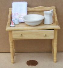 1:12 Scale Victorian Wooden Wash Stand & Accessories Tumdee Dolls House 12a