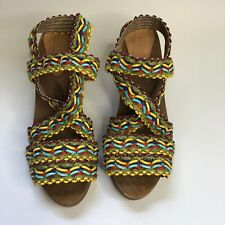 SANITA DANISH CLOGS Multicolor Leather Wood Heels Sandals Women's Sz 39