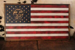 American Flag Wooden **Hand Carved Stars and Marine Emblem**