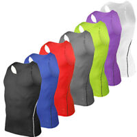 Gym Mens Sleeveless Tank Top Tee Compression Sport Fitness Training Vest T Shirt