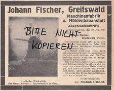 GREIFSWALD, Werbung 1928, Johann Fischer Maschinen-Fabrik Mühlenbauanstalt