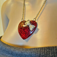 Retro Resin Lucite Red Silver Glitter Filled Puffy Heart Pendant Chain Necklace