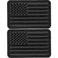 2x American Flag Dark Black PVC Patch 3D Tactical Badge Hook #39
