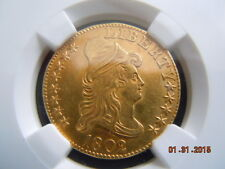 1802/1 DRAPED BUST 5.00 GOLD HALF EAGLE, NGC GRADED  UNC DETAILS! BEAUTIFUL COIN