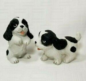2 Cocker Spaniel Puppy Dog Figurine Black & White  Home Interior Homco