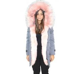 Parka impermeabile grigio donna con pelliccia voluminosa ecologica rosa glamour