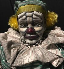 """CrEePy CLOWN """"PATCHES"""" ScArY OOAK Assemblage Art PORCELAIN DOLL Zombie HALLOWEEN"""