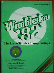Wimbledon 1982 Official Tennis Championship First Day Programme (21st June 1982)