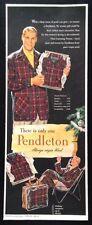 1954 Pendleton men's plaid sport shirt lounge robe tartan wool vintage print ad