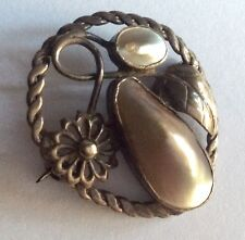 Period Arts & Crafts silver & blister pearl brooch