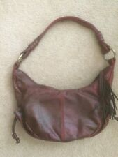 Pietro Alessandro NY Croc Emboss Leather Maroon Burgundy Hobo Bag Tassel