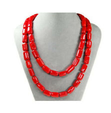 "Beautiful natural red coral gemstone cylinder beads 50"" long necklace AAA"