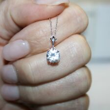14k White Gold 1/4 Ct Round Diamond Solitaire Pendant Necklace Holiday