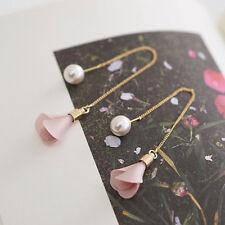 Women Fashion Gold Silver Plated Crystal Flower Drop Dangle Long Chain Earring A
