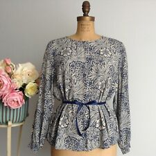H&M and MORRIS &Co Size 8 Beige and Blue Floral Print Long Sleeve Viscose Blouse