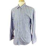 Banana Republic Men's Non Iron Tailored Slim Long Sleeve Blue Stripe Shirt Large