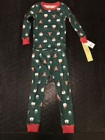 NWT CARTER'S Boys Size 4T CHRISTMAS Holiday 2-Pc Cotton Pajama Set Green Santa