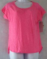 Ideology Women's Striped Mest Short-Sleeve T-Shirt, Molten Pink, XL