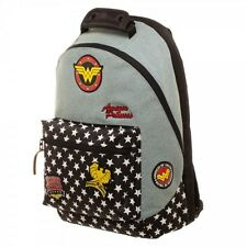 Wonder Woman Backpack With Patches DC Comics Hero Denim Laptop Bag BP57NNDCO
