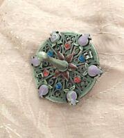 Dreidel Jeweled Round Sevivon  with Pomegranates -Pewter  Hanukkah Gift