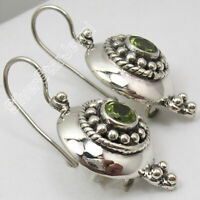 "5 mm FACETTED PERIDOT GEMSTONE ETHNIC Vintage Style Earrings 1.2"" 925 Silver"