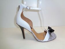 Kay Unger Size 10 M BAROQUE White Black Bow Leather Sandals New Womens Shoes
