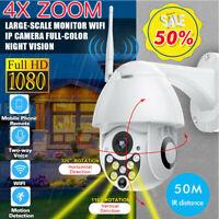 1080P HD 4X ZOOM Wifi IP Caméra de Surveillance Sans fil Sécurité Extérieur IR