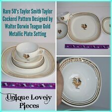 Vintage 50s Taylor Smith Taylor Cockerel Rooster Gold Ivory Dinner Plate Set Cup