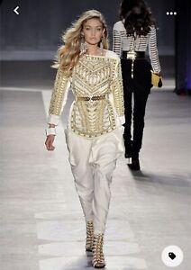 Straps ankle booties heel white gold Size 8  balmain hm design